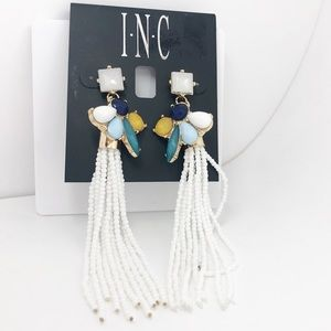 INC White Beaded Mixed Stone Cluster Earrings NEW